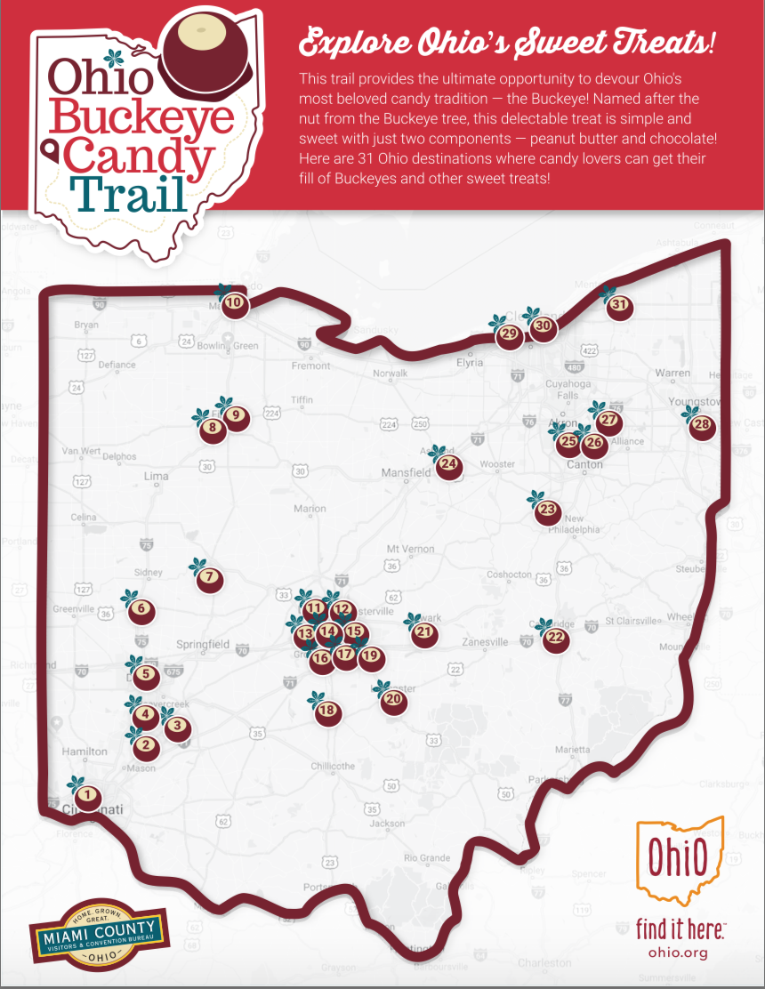 Ohio Buckeye Candy Trail map